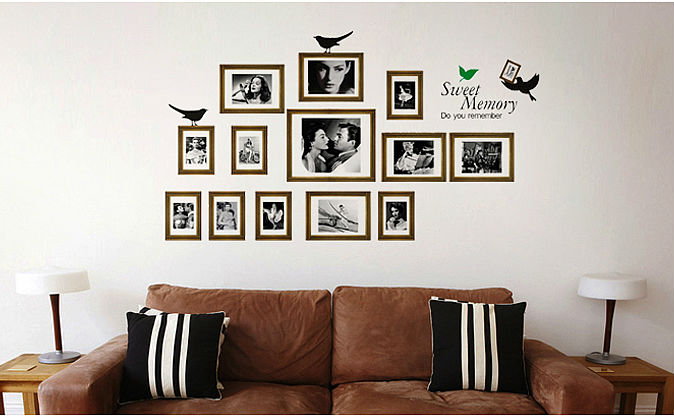 free shipping home decor vinyl wall sticker sweet memory picture frames love bird kids nursery room
