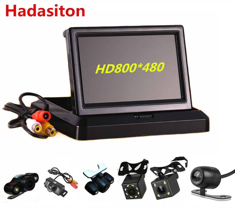 Car-Monitor Rearview-Camera Foldable 2-Video-Input Hd800--480-Screen Tft Lcd With