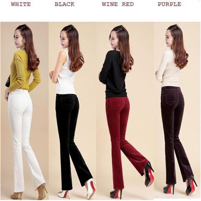 free shipping high quality women s autumn corduroy boot cut pants