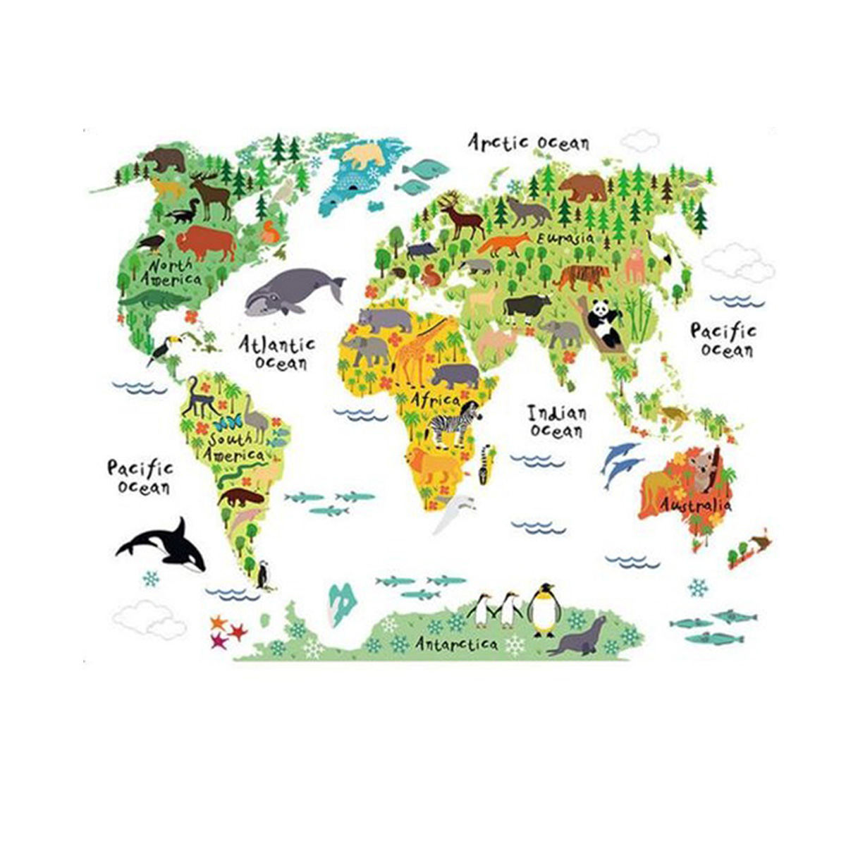 HOT-Large Kids Educational Animal World Map Removable Decal Art Mural Home Decor Wall Stickers