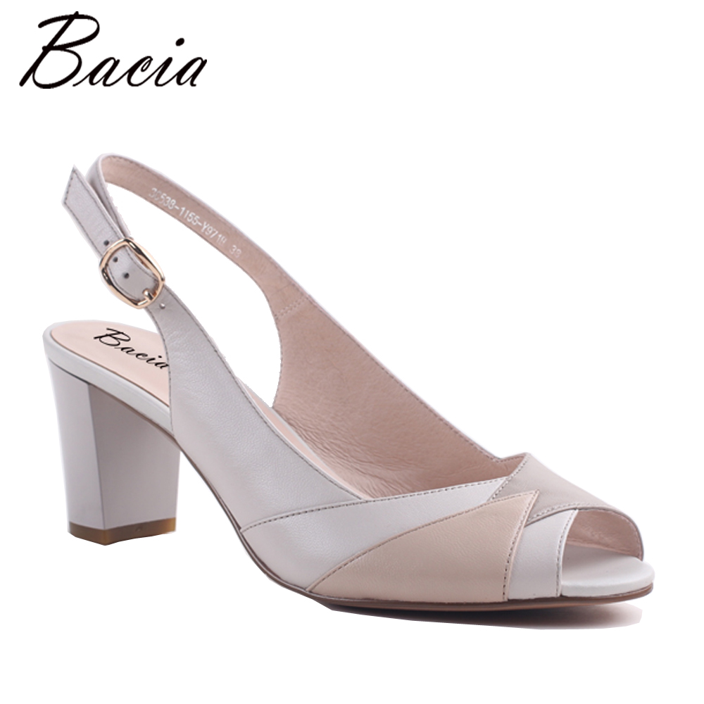 Bacia SheepSkin Sandals 2017 New Thick Square Pointed Toe Heels Buckle Strap Women High Pumps Leather Shoes 33-40 Size MWA002 summer new pointed thick chunky high heels closed toe pumps with buckle ankle wraps sweet sandals women pink black gray 34 40