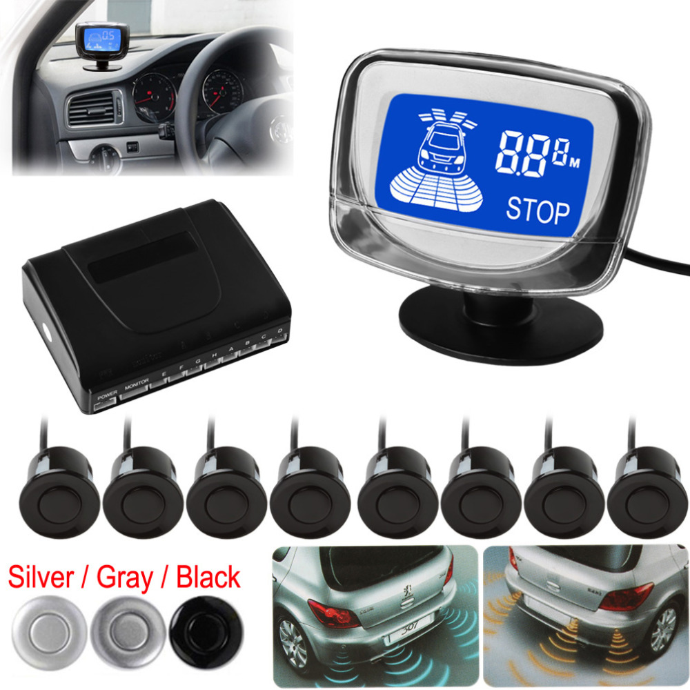 Weatherproof 8 Rear Front View Car Parking Sensors System Auto Vehicles Reverse Backup Radar Kit with LCD Display Monitor