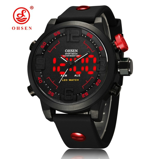 Man's Serie OHSEN Quartz Digital Watch LED Date Day Alarm Sports Watch Men Rubber Band Waterproof Army Watches Relogio Masculino
