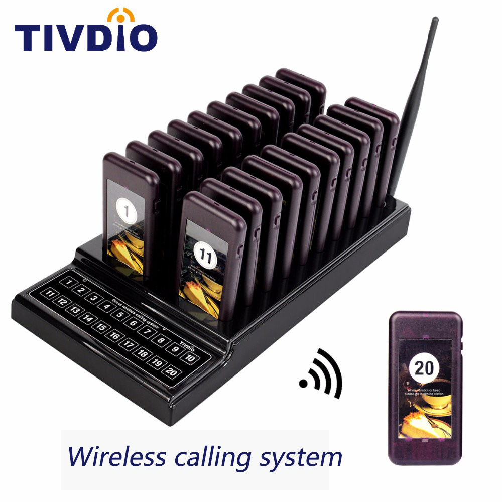 TIVDIO T-111 20-channel 20 Call Restaurant Pager Wireless Paging Queuing System Rechargeable Battery Restaurant Equipment F9401A wireless service call bell system popular in restaurant ce passed 433 92mhz full equipment watch pager 1 watch 7 call button