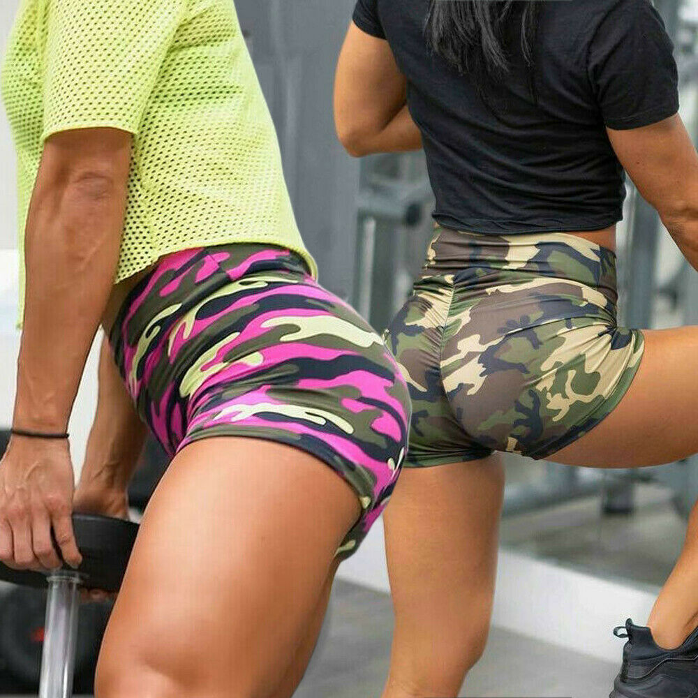 New Women Ladies Fashion Casaul Summer Shorts High Waist Beach Gym Camo Sports Slim Fit Shorts
