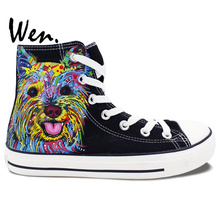Wen Black Hand Painted Canvas Shoes Colorful Pet Dog Unique Birthday Gifts Men Women's High Top Sneakers