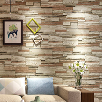 Vintage Non woven Fabric 3D Brick Wallpaper For Kitchen Restaurant Rustic Stone Wall Paper Rolls Living Room TV Background Decor