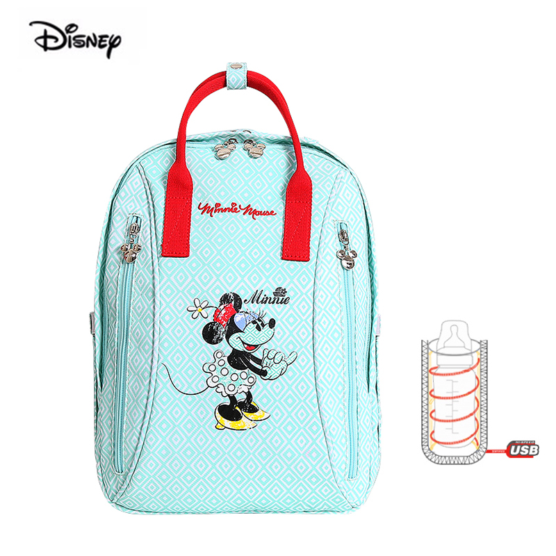 2019 Disney Minnie Mickey Multifunctional USB Heater Mummy Mother Bag For Nappies Baby Travel Backpack Insulation