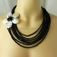 Multi 7 Strand Necklace White Flower MOP Shell Sparkly Black Crystal Layer