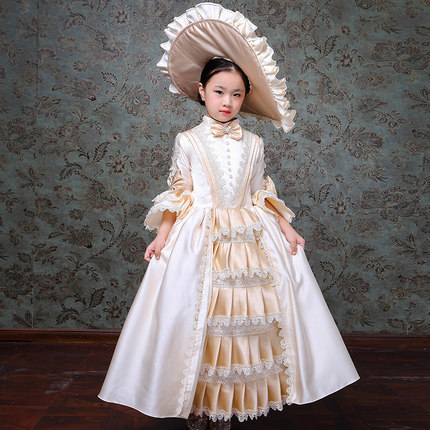 bce9c58c4509 Free ship children's girls medieval champagne princess gown with hat stage  costume lace flower renaissance gown dress Halloween
