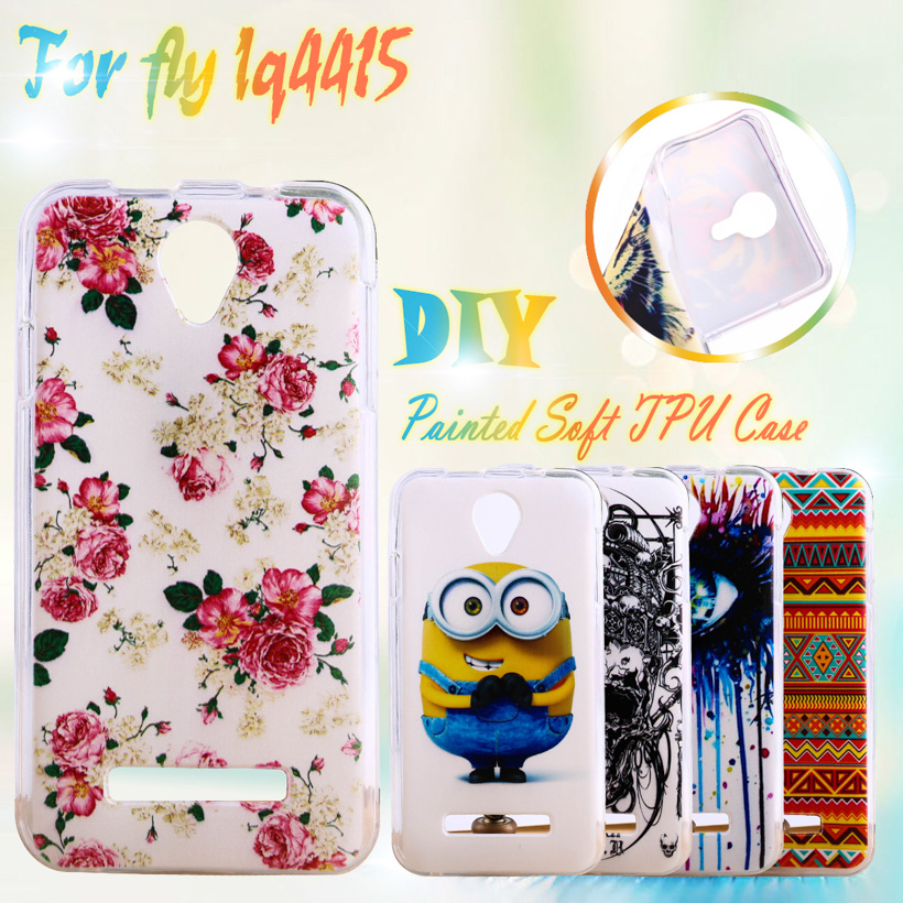 AKABEILA Painted TPU Silicone Phone Cases For Fly IQ4415 quad Era Style 3 IQ 4415 4.5 inch (4.5)Cases Housing Cover Phone