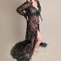 Lace Maternity Dress Gown Wedding Party Maxi Dresses Pregnant Women Long Maxi V Neck Lace Dress