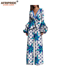 2018 spring casual jumpsuit for women AFRIPRIDE full puff sleeve deep v-neck cotton with sashes in front A1829001