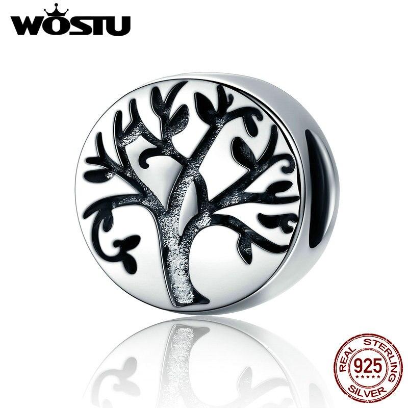 WOSTU Fashion New 100% 925 Sterling Silver Classic Tree of Life Beads fit original Pandora Charm Bracelets Fine Jewelry FIC430