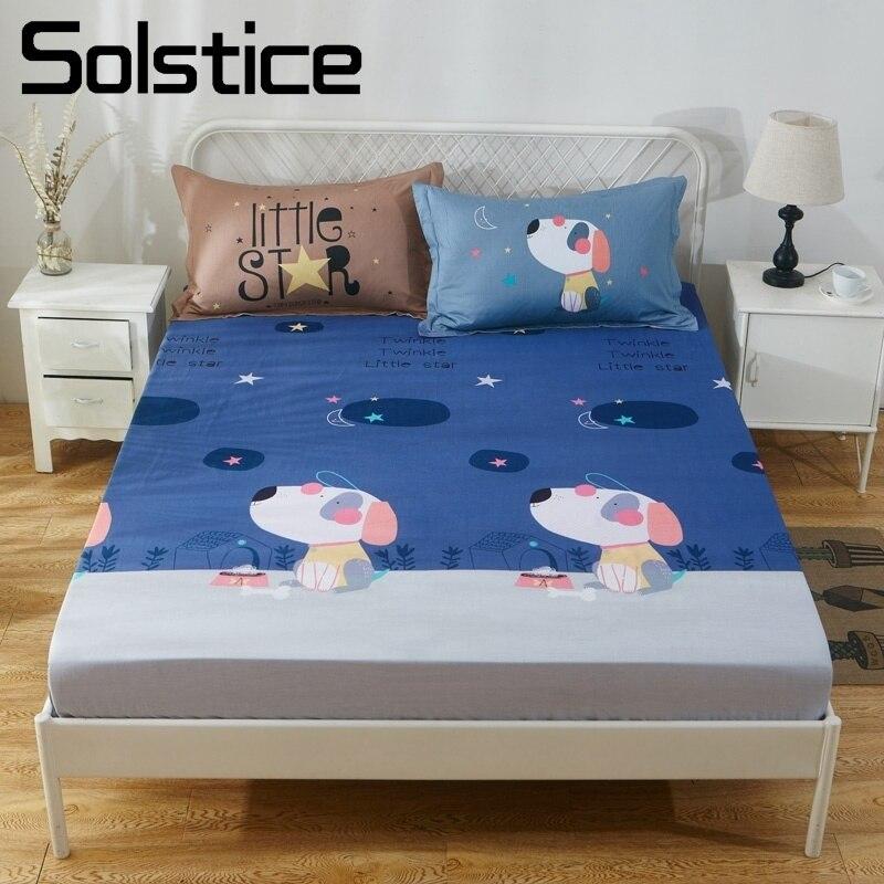 Solstice maison Textile dessin animé chien chiot bleu drap housse lit matelas couverture 100% coton pour enfant garçons enfant fille adolescent jumeau 1 pièces
