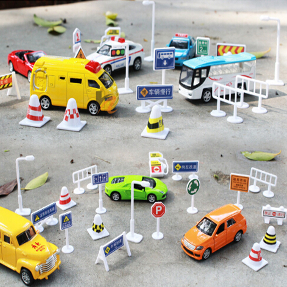 56pcs Kids Gift Toys Accessories Children Early Education Toys Diy Model Scene Toy Sign Road Sign Roadblock Traffic Sign Toy