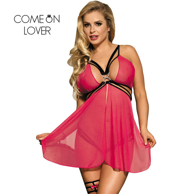 Comeonlover Transparent Lace Lingerie Sexy Erotic Hot Women Babydoll Chemise Flyaway Underwear Nightwear Sex Costume RI70227 2
