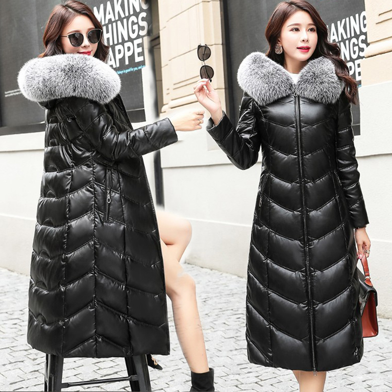 화이트 오리 방수 겨울 자켓 여성 따뜻한 리얼 폭스 모피 칼라 후드 겨울 코트 여성 롱 다운 재킷 따뜻한 파카-에서파카부터 여성 의류 의  그룹 1