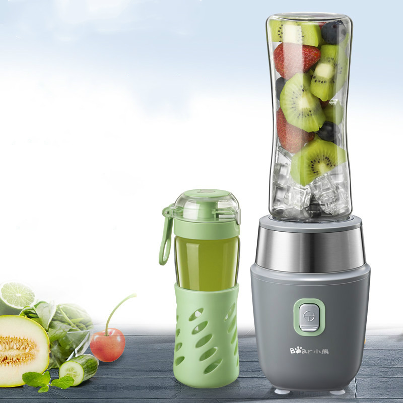 Bear Mini Portable Fruit Juice Machine with 2 Glass Bottles Stand Food Mixer Juicers Household Electric Blenders Kitchen Aid glantop 2l smoothie blender fruit juice mixer juicer high performance pro commercial glthsg2029