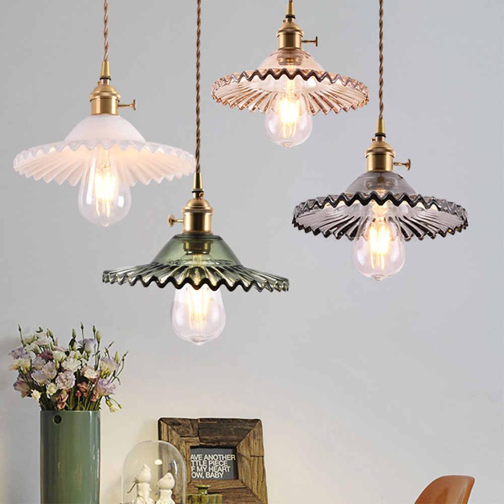 Glas Anhänger Licht Nordic Anhänger Lampe Kupfer Anhänger licht messing Kreative minimalistischen E27 Edison Lampenschirm Für Restaurant