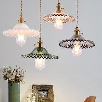 Glass Pendant Light Nordic Lamp Copper light brass Creative minimalist  E27 Edison Lampshade For Restaurant