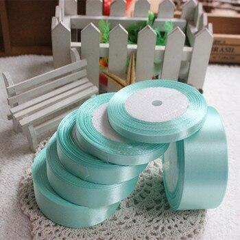 Cinta de raso para boda de Seda verde menta de 25 yardas, embalaje de regalo de decoración para fiesta, cinta de tela de costura para ropa de Año Nuevo de Navidad