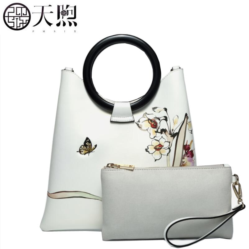 Famous brand top quality Cow Leather women bag 2018 New Printed Leather Handbag National wind Messenger bag ring hand bag купить в Москве 2019
