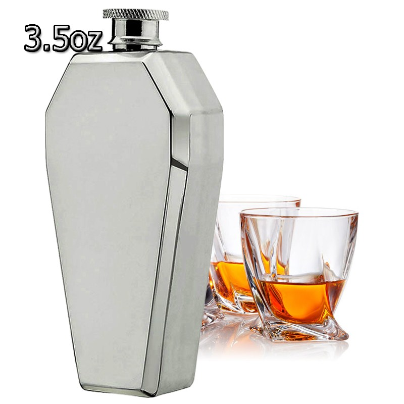 New 3.5 Ounce 304 Stainless Steel Flagon Hexagonal Wine Hip Flasks Portable Outdoor Whisky Wine Set Travel Drinking Wine Pot