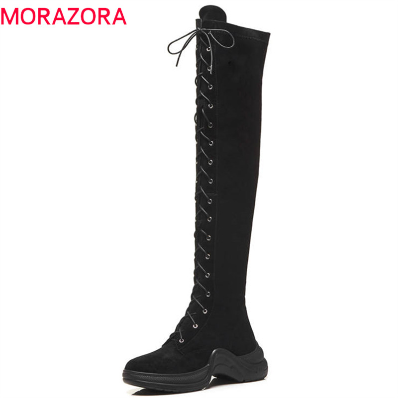 MORAZORA 2020 new arrival over the knee boots women suede leather boots cross tied fashion punk shoes woman autumn winter boots