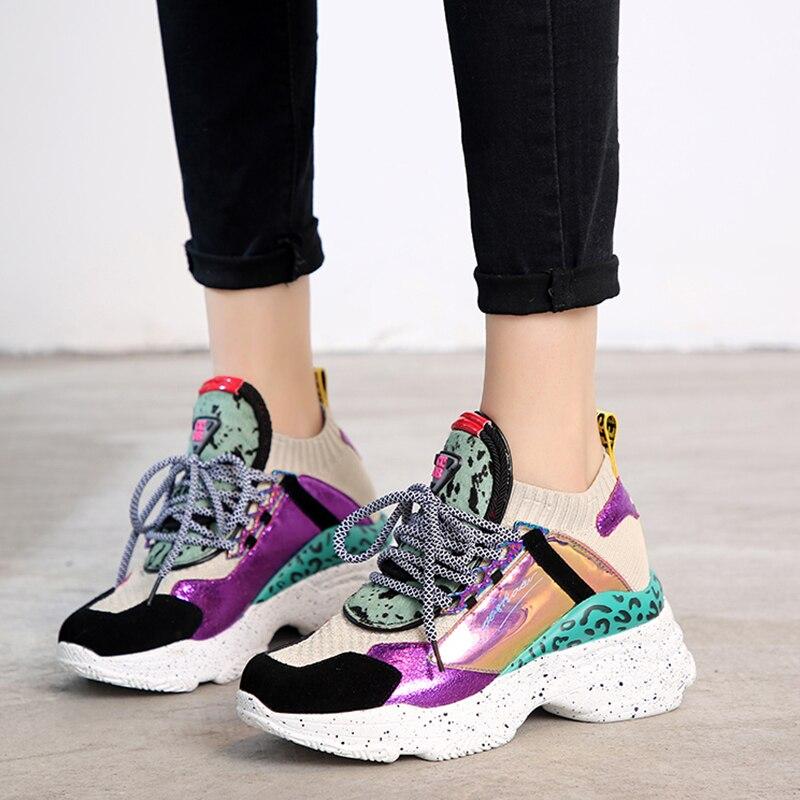 DoraTasia nouveau 35-42 en cuir véritable daim Sneakers femmes 2019 été crin de cheval plate-forme papa chaussures décontracté plat femmes chaussures femme - 3