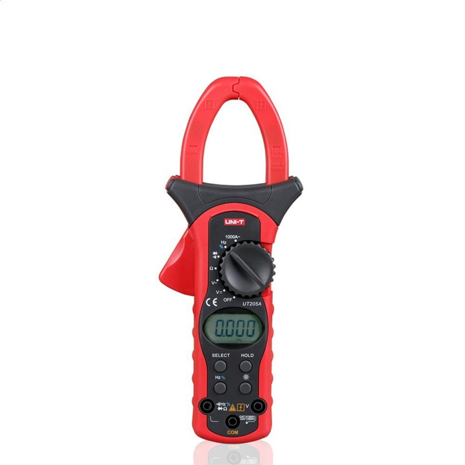 High Accuracy Uni-t UT205A LCD Digital Clamp meter Multimeters DC AC Volt Ampere Ohm Hz Auto Range Tester uni t ut39e general manual range digital multimeters ut 39e transistor dc ac volt ampere resistance capacitance frequency meter