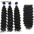 Brazilian virgin hair with closure deep wave human hair 4 bundles brazilian deep wave with closure rosa virgin hair with closure