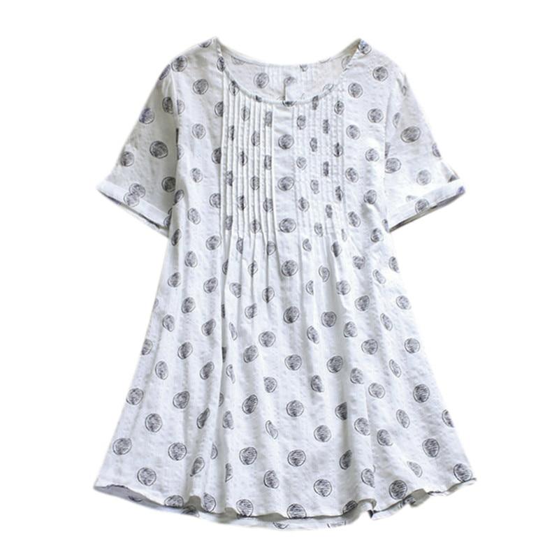 Elegante Damas Plus Mujeres Camisa Corta Blanco Moda Marino Y Dot Blusas Tamaño Manga Lino azul Ropa Para Cuello De Con Polka Zw4Oxq7Z