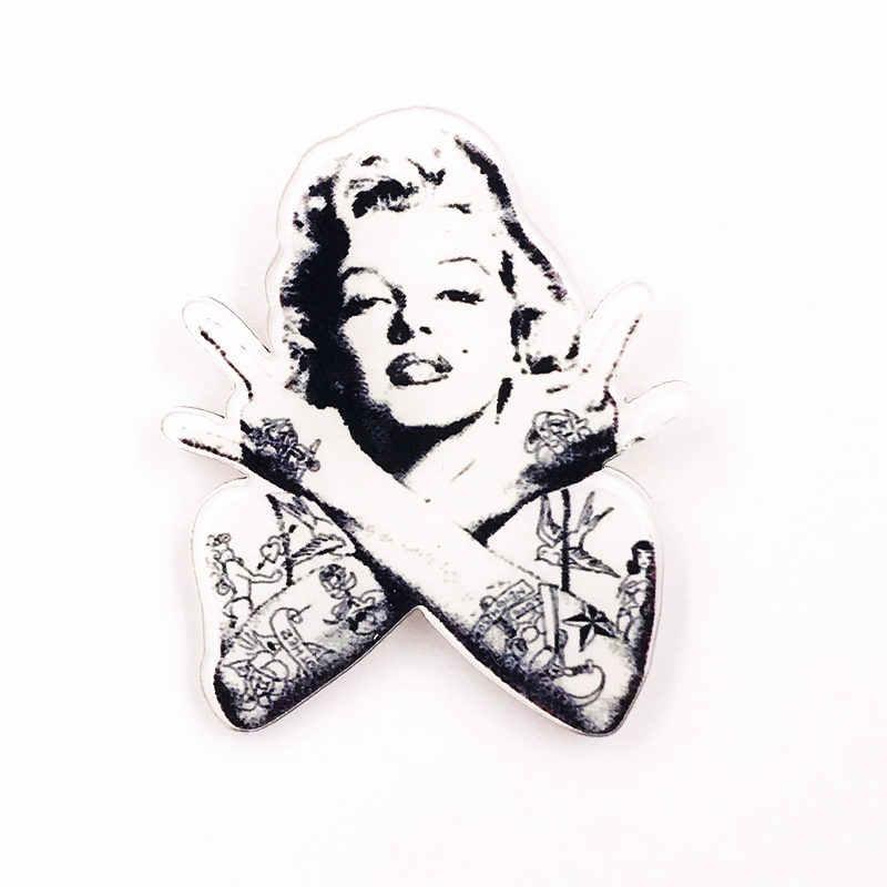 1 قطعة الفتيات النساء هدية الكرتون مارلين مونرو الرموز شخصية على ظهره بروش دبابيس للملابس الاكريليك شارات