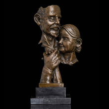 Nouveau Arts  Abstract Style Bronzes antiques old man and woman busts bronze statues Birthday gift