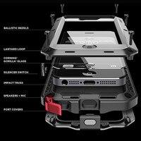 Seonstai cho iPhone 5 s Trường Hợp Bảo Vệ Doom Armor Kim Loại Bìa cho iphone 5c 5 SE Nhôm Gorilla Trường Hợp Front Tempered Glass