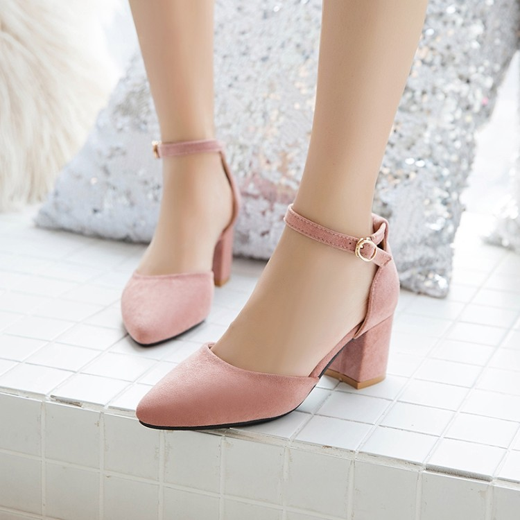 Big Size 11 12 13 14 15   high heels sandals women shoes woman summer ladies     Coarse-heeled pointed buckle shoesBig Size 11 12 13 14 15   high heels sandals women shoes woman summer ladies     Coarse-heeled pointed buckle shoes