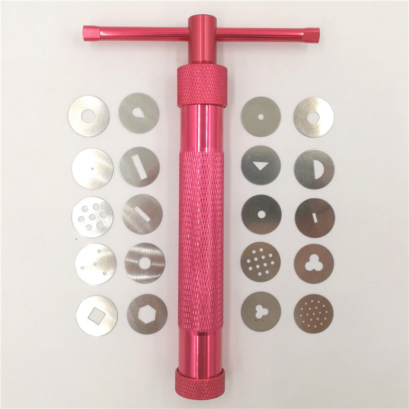 Red Clay Extruders Cake Sculpture Gun with 20 რჩევები Sugar Paste Extruder Fondant Cake Sculpture Polymer Gun Tool Perfect