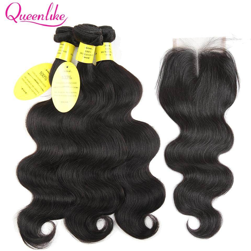 Queen like Hair Products Brazīlijas ķermeņa viļņi ar slēgšanu - Cilvēka mati (melnā krāsā) - Foto 1