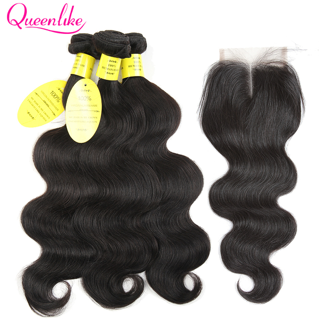 QueenLike Hair Products Brazilian Body Wave With Closure Non Remy Hair Weft Weave 2 3 4 Bundles Human Hair Bundles With Closure
