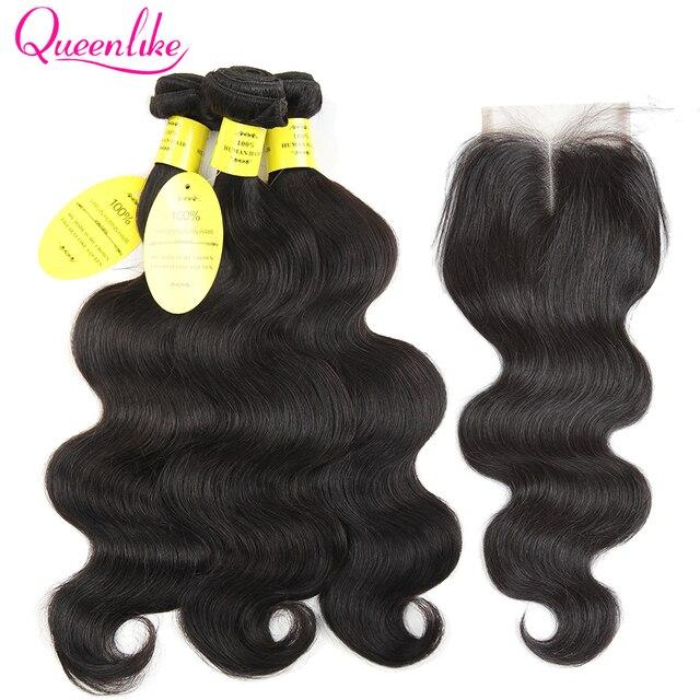 QueenLike brasileño de los productos del pelo de la onda del cuerpo con cierre no Remy armadura de la trama del pelo, 2, 3, 4 paquetes de cabello humano con cierre
