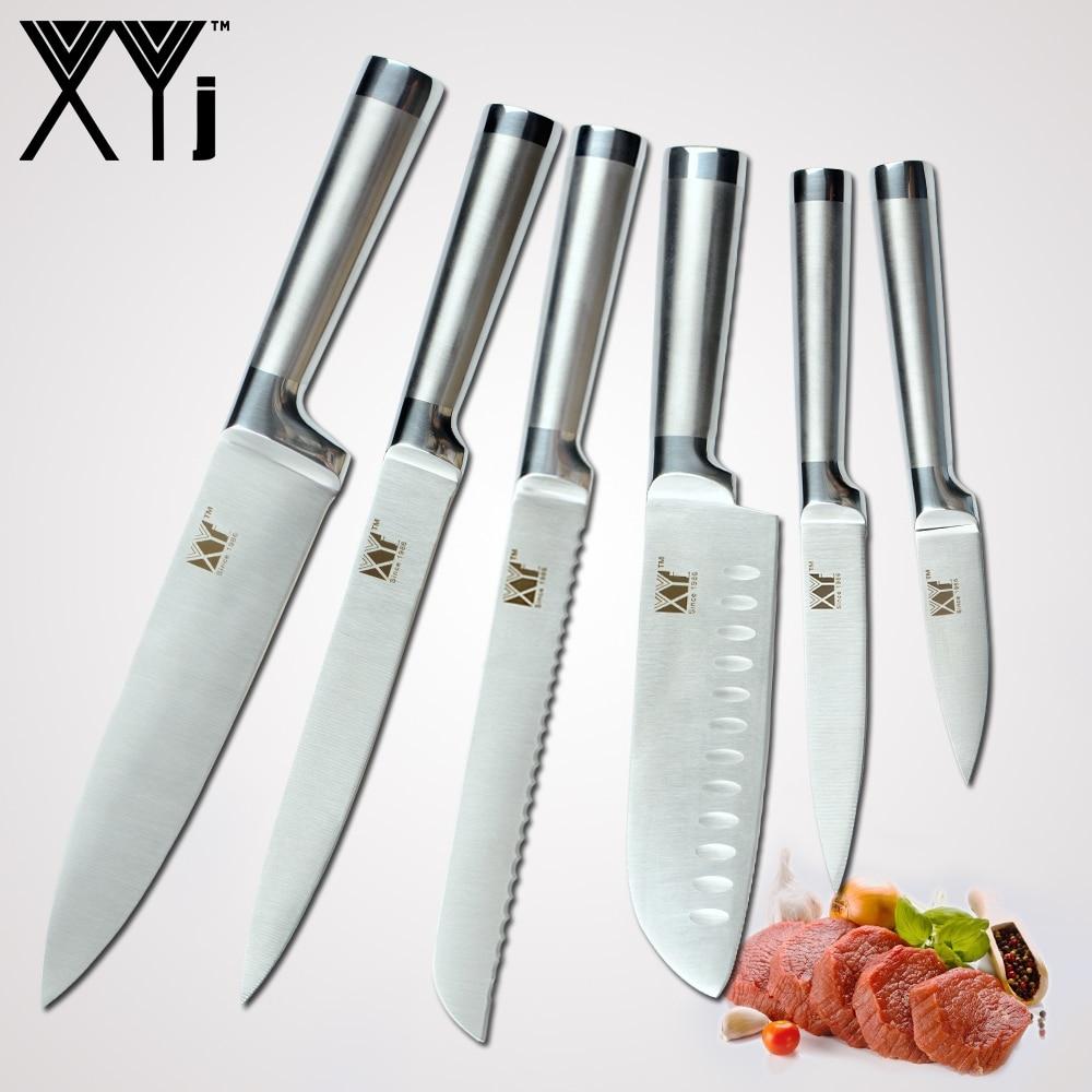 XYj Küchenmesser Set Ein Stück 7cr17 Edelstahl Struktur Messer Obst Utility Santoku Chef Schneiden Brot Kochen Messer