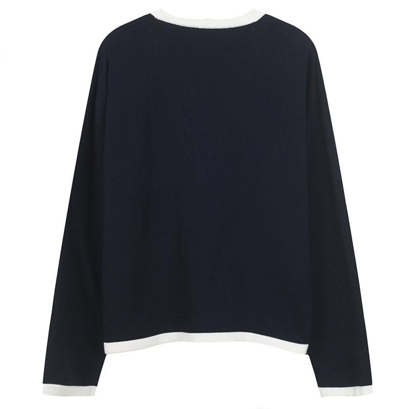 marine Chandail Streetwear Poches Couleurs Bleu Ww Jumper Automne 1628 Contraste 2018 Femmes Femme Cardigan Pull Rouge Wang Mode Whitney qCS4gBTwq