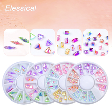 Elessical Horse Eyes Triangle Square Design Rhinestone New Arrival Colorful 3D Nail Art Decorations Manicure Accessories Wheel
