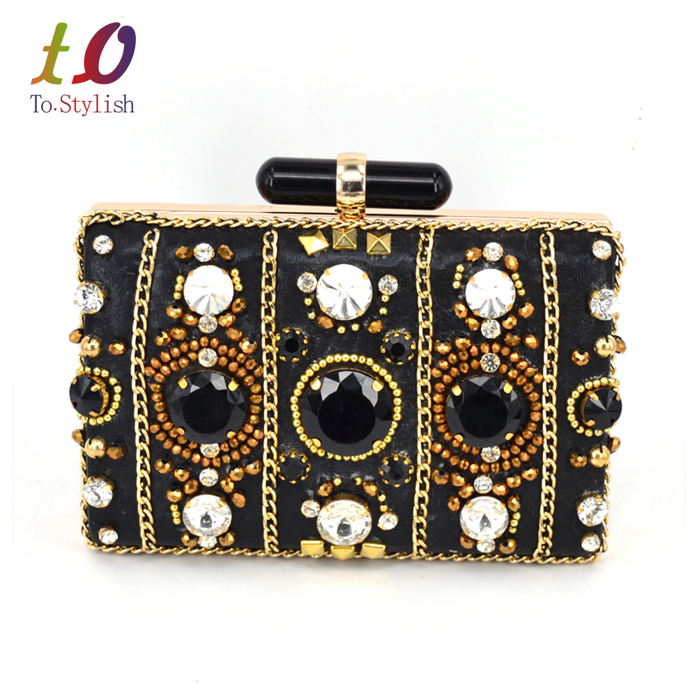 Luxury Crystal Evening Clutches Black Party Handbag with Chain Ladies Wedding Pearl Bride Clutch bag Prom Dinner Bag SA42  new arrived ladies pu leather retro handbag luxury women bag evening bag fashion black pearl chain shoulder bag party clutch bag
