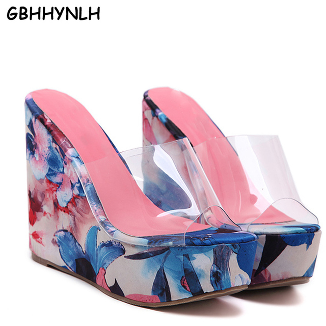 748434cc7 beach slippers women flip flops Wedge Slippers PVC Clear Transparent Shoes  Woman Platform heels Wedges Crystal shoes LJB40