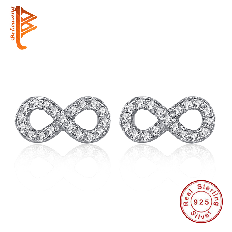 Originalni 100% srebrni uhani iz 925 šterlingov z Micro Pave CZ kristalnimi uhani v obliki neskončnosti za ženske brincos Gift