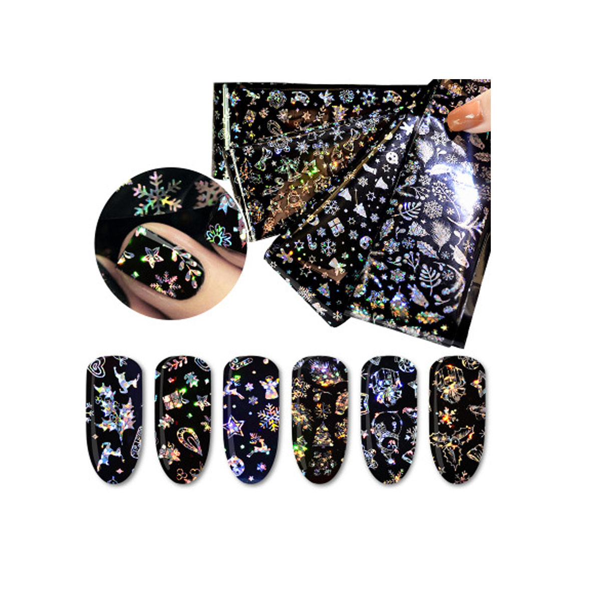 4pcs pack Holographic Starry Nail Foil Christmas Snowflake Winter Star Rose Nail Art Transfer Sticker Manicure Decal in Rhinestones Decorations from Beauty Health