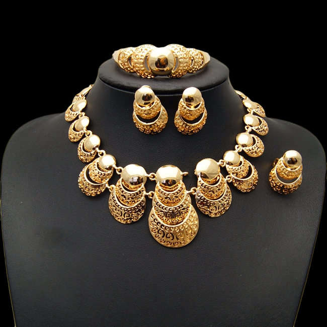 цена на YULAILI Free Shipping High Quality Unique Design Gold Color Four Pieces Jewelry Sets