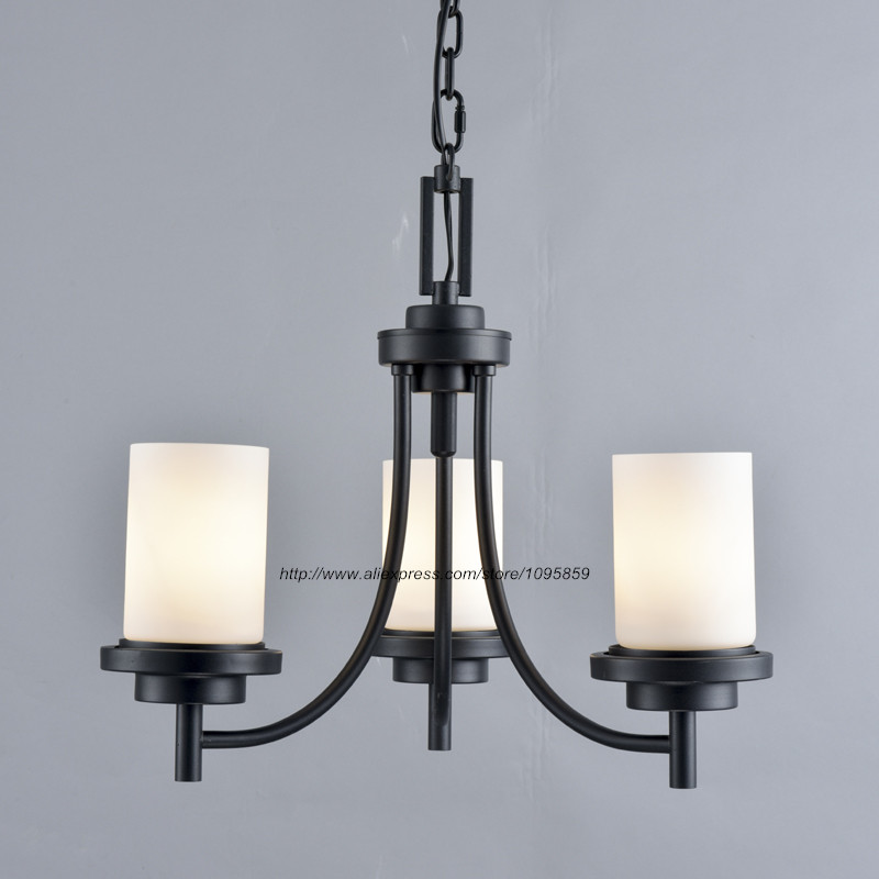 rustic retro 3 arm black chandelier light lamp milk white glass shade dining room ceiling fixtures black chandelier lighting